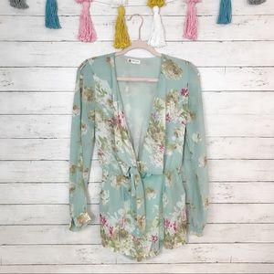 Cotton Candy Blue Floral Tie Front Romper Small